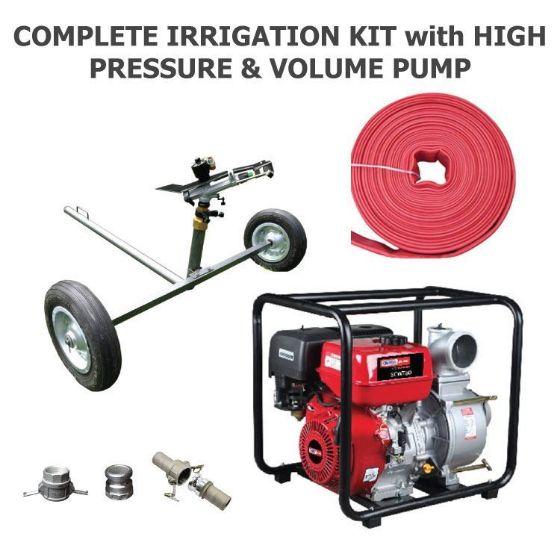Complete Irrigation Kit 2500 with DuCaR impact sprinkler cart - lay flat hose - cam locks - high pressure pump
